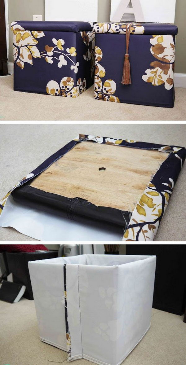 DIY Fabric Ottoman Combined with Storage. Get more details