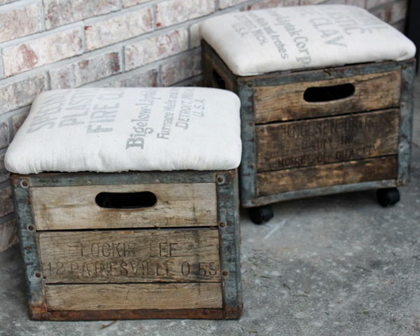 DIY Milk Crate Ottoman. See the full tutorial