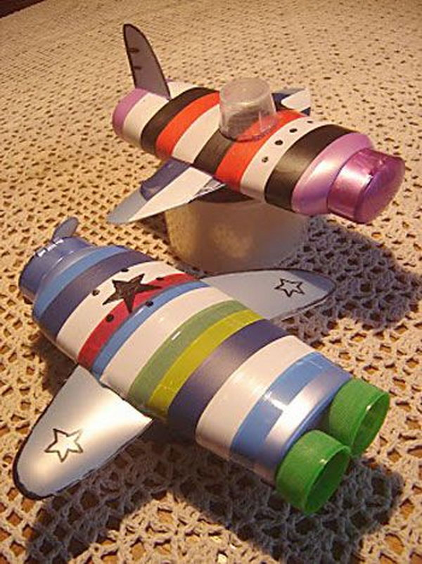 Toy Airplanes Made from Empty Lotion or Shampoo Bottles. If your baby boy has his heart set on airplanes, then make some out of empty lotion or shampoo bottles with his little hands. See more from