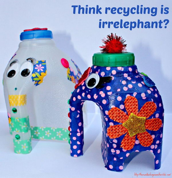 Cute Milk Bottle Elephants. Let your kids know the fun of recycling with these cute DIY milk bottle elephants. Tutorial via