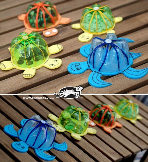 Plastic Bottle Turtle Shell Craft. With only a few easy to find materials, the kids can transform an old plastic bottle into fun turtle banks that's great for pool parties and bath time! Video tutorial via