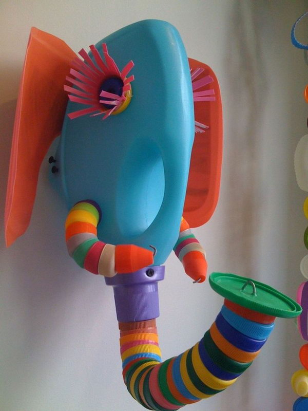 Sculpture Elephant Made from Recycled Plastic Bottle and Bottle Tops. This is a really clever idea for getting your kids interested in crafting and to start a conversation about recycling too! See more pictures from