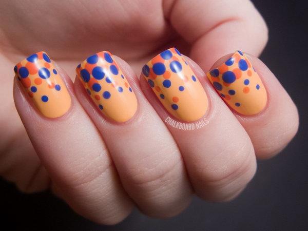 Blue and Orange Polka Dot Nail Art Designs.