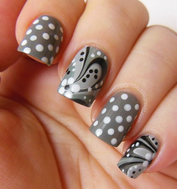 Gray and White Water Marble and Polka Dot Nails. Get more details