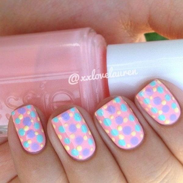 Pastel Polka Dot Nail Art Designs.