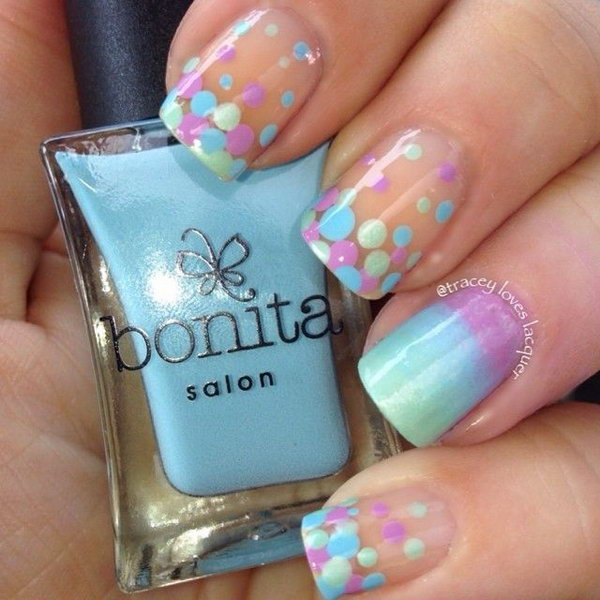 Gradient and Dotted Nail Art Designs.
