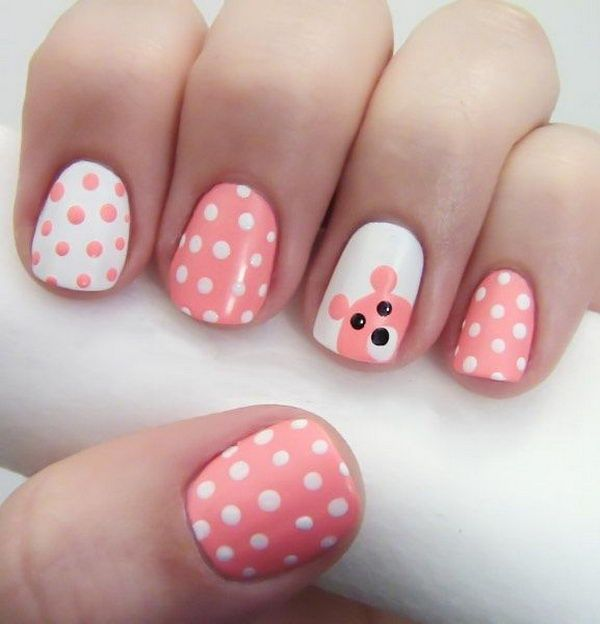 Pink and White Simple Polka Dot Nails.