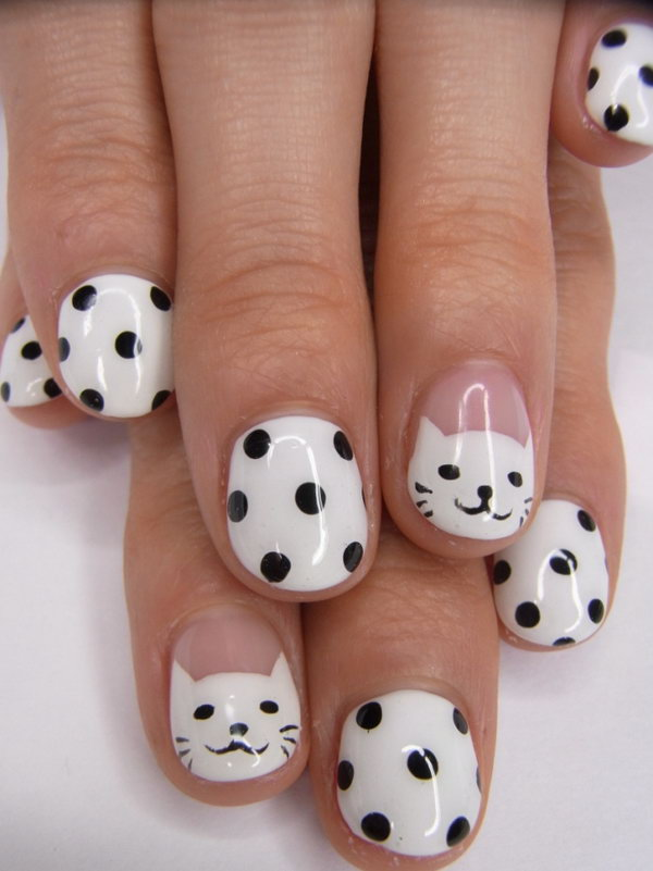 Black and White Polka Dot Nails with Smiley Cute Kitties.