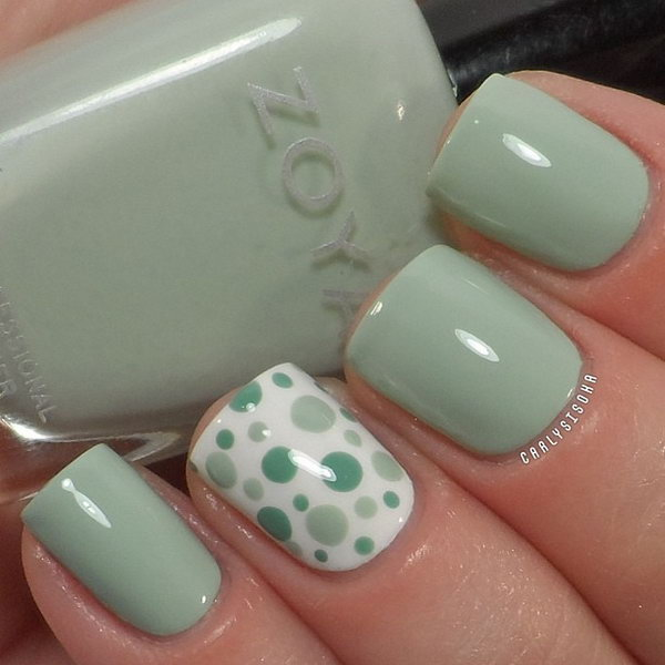 Mint Polka Dot Nail Designs.