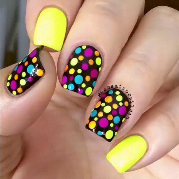 Neon Polka Dot on Black Nail Background Designs.