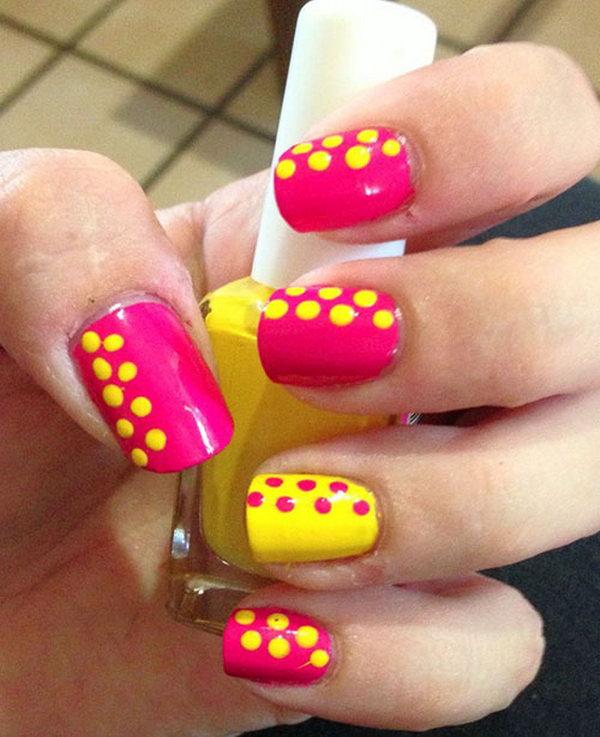Pink and Yellow Polka Dot Nail Art Designs.