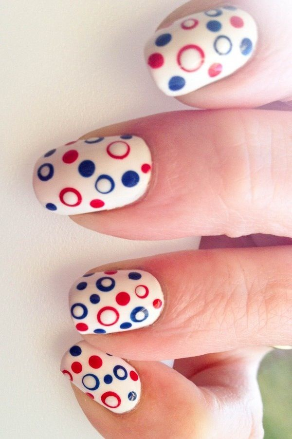 4th Of July Inspired Polka Dot Nails.