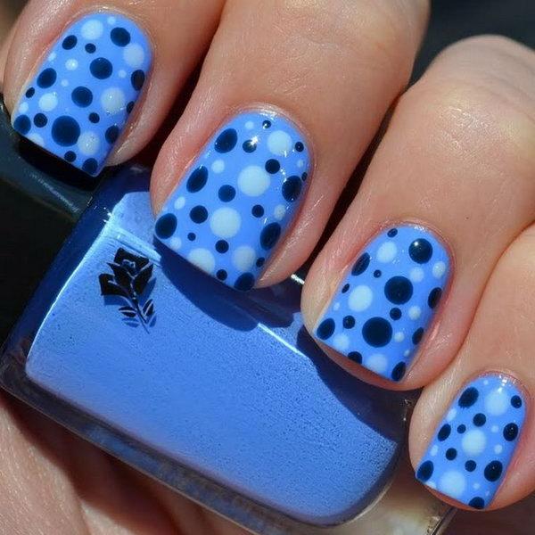 Gorgeous Aqua Blue Polka Dot Nail Designs.