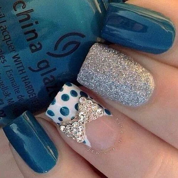 Teal and Silver with Bow and Polka Dots Nail Design.