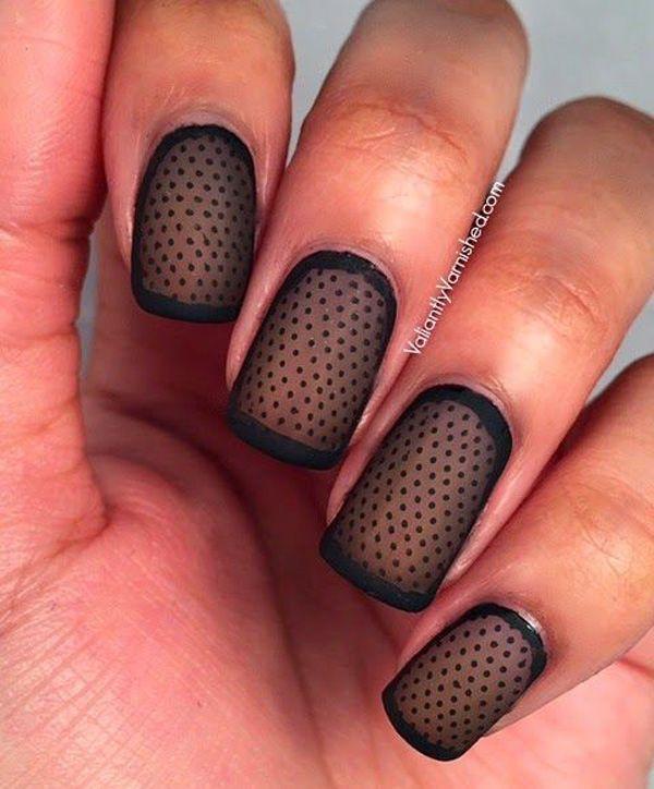 Cool Black Polka Dots Nails .