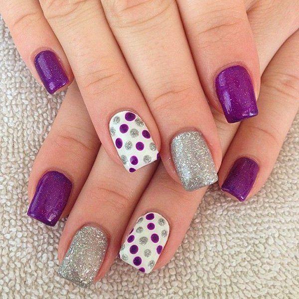 Purple and Sliver Glitter Polka Dot Nails.