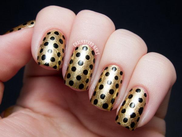 Black and Gold Polka Dot Nail Art Ideas.