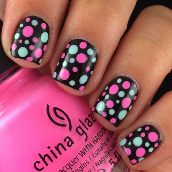 Mint and Pink Polka Dots on Black Nail Background.