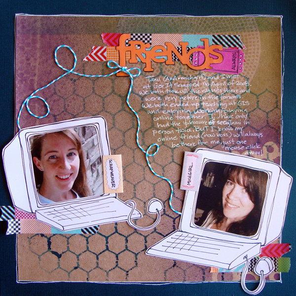 Online Friendship Scrapbooking Idea. This is a creative scrapbook idea to record the friendship with your online friends.