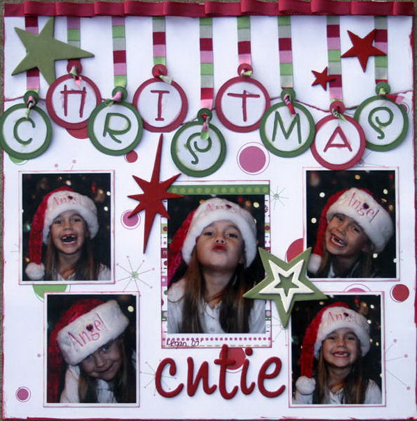 A creative scrapbooking idea for your Christmas. The word Christmas looks like ornaments. I love it so much.