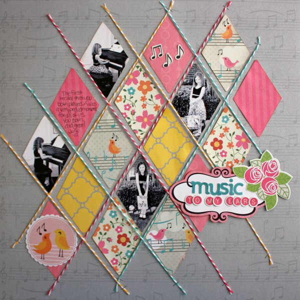 Diamond Twine Scrapbooking Idea. Create a diamond pattern with some twine and add your design and cherish photos.  Get more details