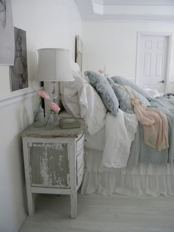 Shabby Chic Distressed End Table.