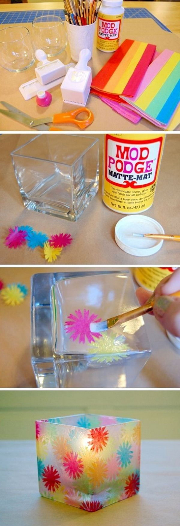 """Stained Glass"""" Votive Holders.  Use these colorful tissue paper to decorate a glass container and make a votive holder to whip up custom party décor on the cheap. This project is quick and easy to make. If you want to get one, check out the tutorial"""