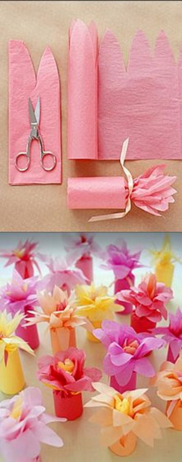 Tissue Paper Flower Wrapped Favors. Check out the tutorial of these simple and adorable party favors made with colorful tissue paper
