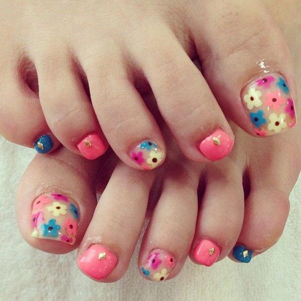 Muti colored Floral Toe Nails.