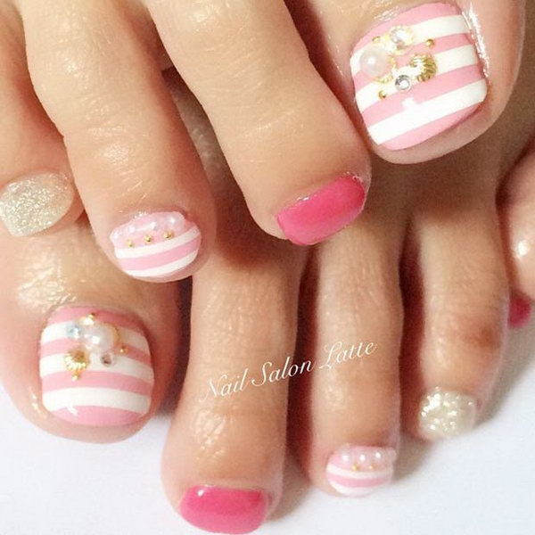 Lovely Pink and White Striped Toe Nail Design.