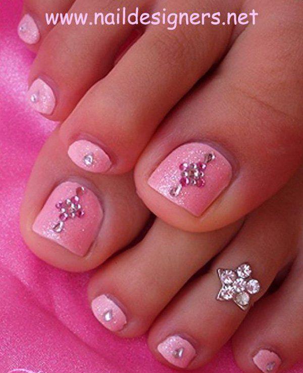 Pink Rhinestone Toe Nails.
