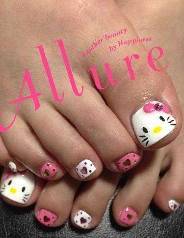 Hello Kitty Toe Nail Design.