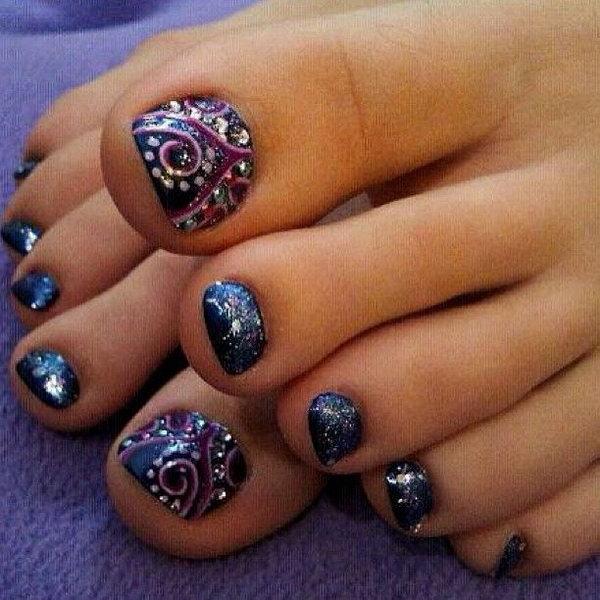 Navy Blue Toenail with Purple Swirls and Silver Polka Dot.