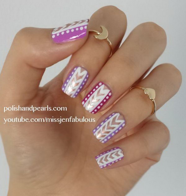 Pink and Purple Tribal Nails. Get the video tutorial