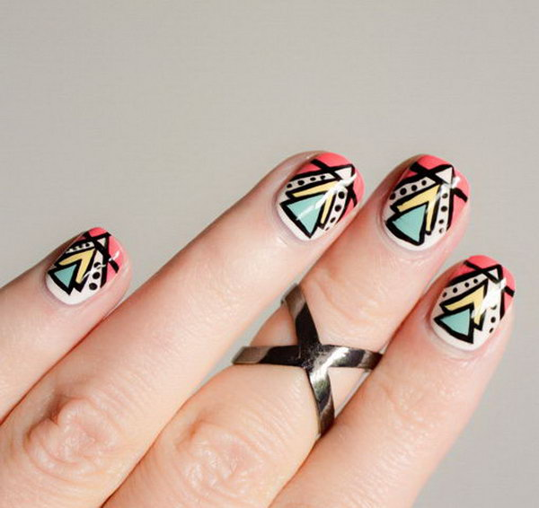 Tribal Triangle Nail Art. Get the directions