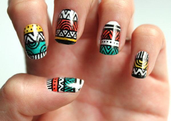 Tribal Stripe Nail Art. Get the tutorial
