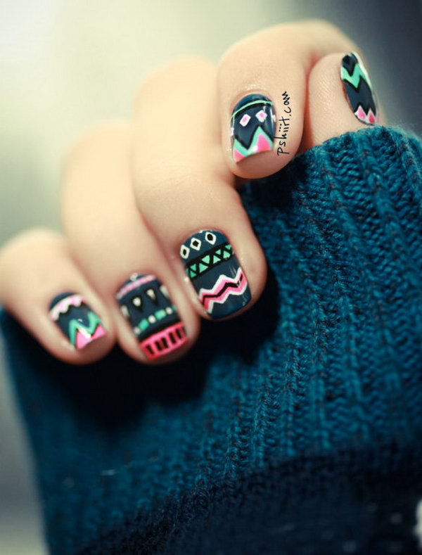 Dark Tribal Nails. See the instructions