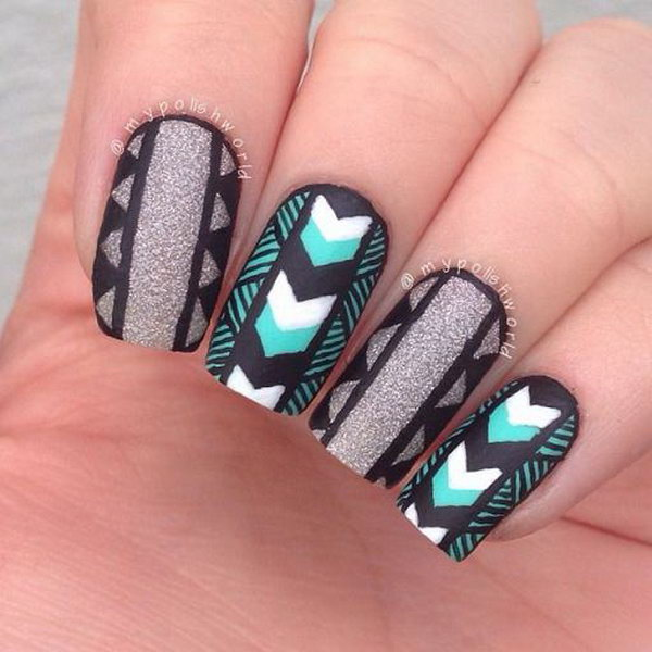Black and Gray Inspired Tribal Nails.