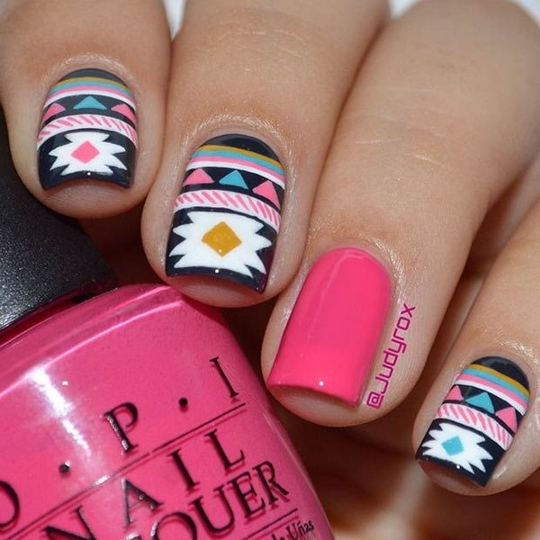 Pink Accent Tribal Nail Design.