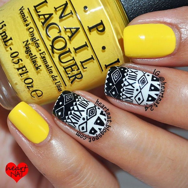 Yellow, Black and White Tribal Nail Art. Get the details