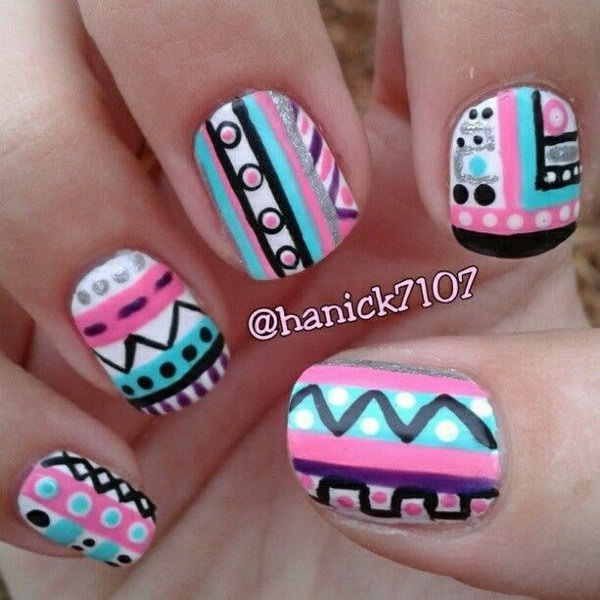 Tribal Nail Art Design in Bright Blue, Purple, White and Pink.