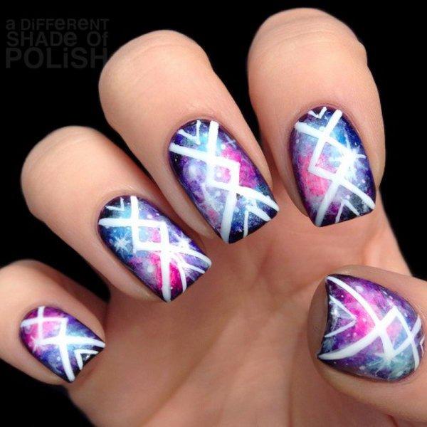 Purple Galaxy Tribal Nails.