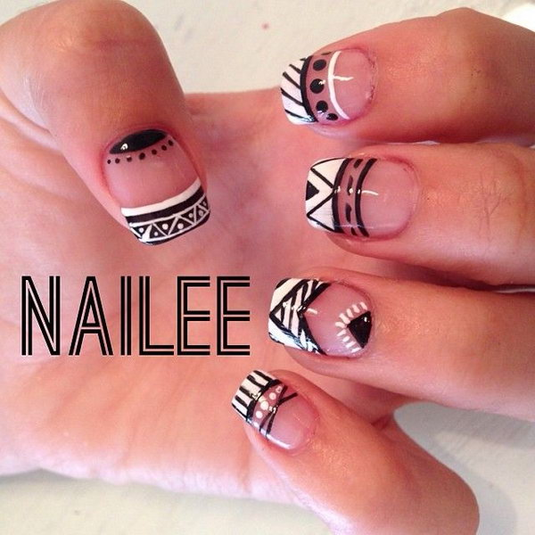 Black and White French Tip Tribal Nails.