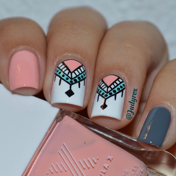 Peach, Gray and White Tribal Nails.