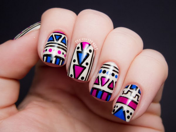 Fuchsia and Cobalt Tribal Nail Design. See the tutorial