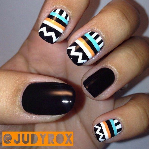 Black Accented Tribal Nails.