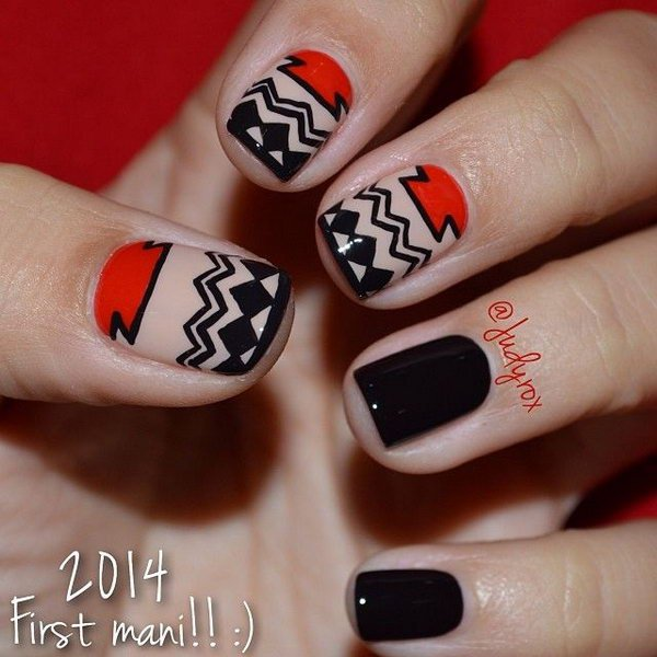 Black and Red Mixed Tribal Nails.