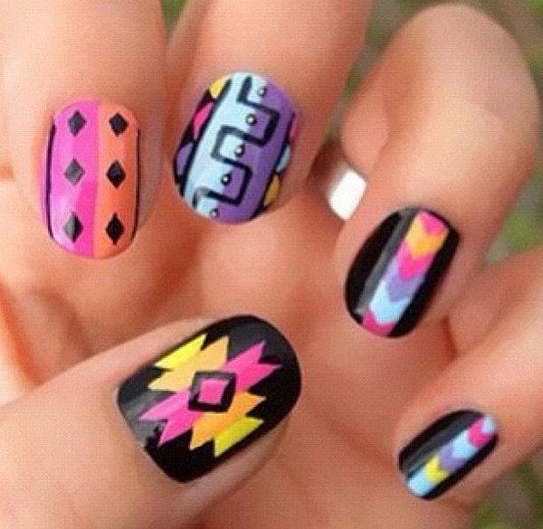 Rainbow Tribal Metallic Nails.