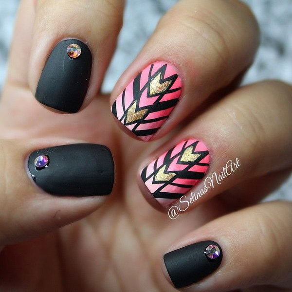 Black and Ombre Pink Tribal Nails Accented with Glitter and Rhinestone.