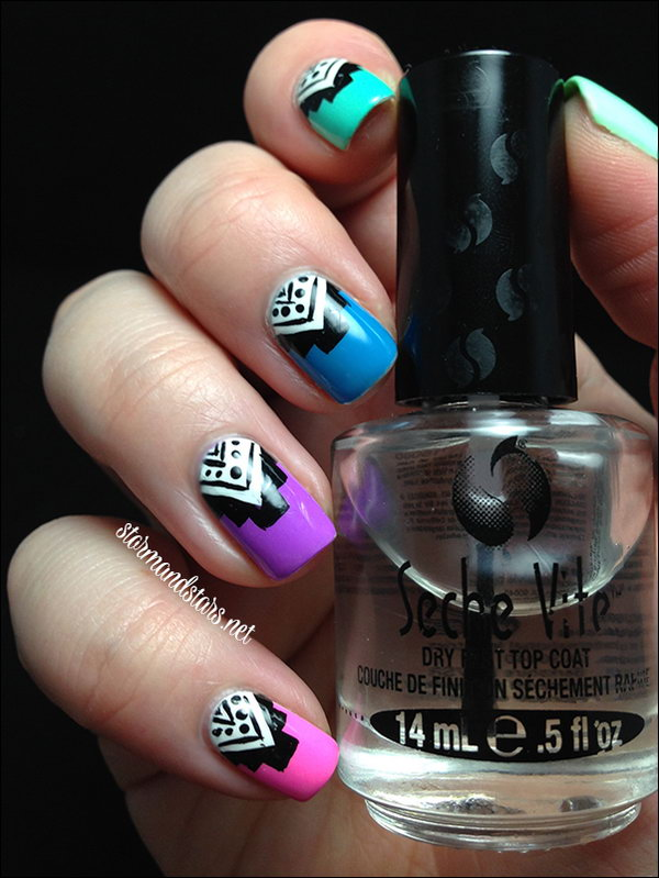 Neon Tribal Nail Art. See more details
